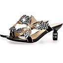 رخيصةأون قباقيب نسائية-للمرأة أحذية الراحة المواد التركيبية ربيع صنادل كعب ستيلتو ذهبي / أسود