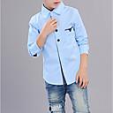 tanie Topy dla chłopców-Dzieci Dla chłopców Podstawowy Solidne kolory Długi rękaw Bawełna Koszula Rumiany róż 150