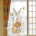 cheap Wall Stickers-Window Film & Stickers Decoration Ordinary Flower / Floral / Character PVC(PolyVinyl Chloride) Window Sticker