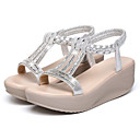 cheap Wedding Shoes-Women's Wedge Sandals PU(Polyurethane) Summer Sandals Wedge Heel Round Toe Rhinestone Silver