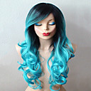 cheap Costume Wigs-teal blue wig long curly hair with dark roots wig durable heat resistant fashion wig for daily use or cosplay Halloween