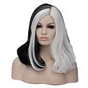 cheap Toupees-Cosplay Wigs / Synthetic Wig Straight Middle Part Synthetic Hair 16 inch Fashionable Design / Cosplay Black / White Wig Women's Short Capless Black / White