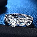 preiswerte Moderinge-Damen Klassisch Ring Ring-Set - Platiert, Diamantimitate Herz, Liebe Romantisch, Modisch, Franz?sisch 6 / 7 / 8 / 9 / 10 Silber Für Party Verlobung / 2pcs