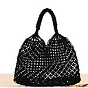 cheap Top Handles & Tote Bags-Women's Bags Straw Tote Zipper White / Black / Coffee