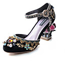 cheap Women's Sandals-Women's Comfort Shoes Suede Summer Sandals Block Heel Black / Red / Light Blue