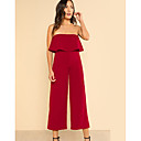 cheap Robots-Women's Going out Basic Strap Black Red Wide Leg Jumpsuit, Solid Colored Patchwork M L XL Short Sleeve Fall