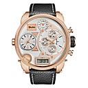 levne Vojenské hodinky-Oulm Pánské Sportovní hodinky Vojenské hodinky Digitální hodinky japonština Japonské Quartz Kůže Černá / Hnědá 30 m Voděodolné Kalendář LCD Analog - Digitál Luxus Módní - Bílá Černá Hnědá Jeden rok