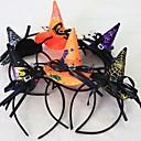 billige Kostymeparykk-1pcs kvinner jenter mote hekse hode hodebånd halloween svart blonder hår band dans fest boutique hoop hår tilfeldig