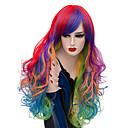 billige Kostymeparykk-Cosplay Parykker / Syntetiske parykker Krøllet Midtdel Syntetisk hår 26 tommers Stilig Design / sexy Lady Rød / Blå Parykk Dame Lang Lokkløs Regnbue