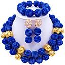 baratos Colares-Mulheres Camadas Conjunto de jóias - Bola Fashion Incluir Strands Necklace Verde / Rosa claro / Rosa Para Casamento