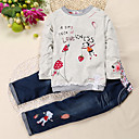 cheap Girls' Clothing Sets-Kids / Toddler Girls' Street chic Daily / School Print Long Sleeve Regular Regular Cotton / Polyester Clothing Set Light gray 2-3 Years(100cm)