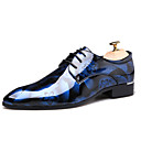 cheap Men's Oxfords-Men's Printed Oxfords Patent Leather Fall Casual / British Oxfords Non-slipping Brown / Blue / Wine