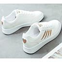 זול סניקרס לנשים-בגדי ריקוד נשים נעלי נוחות PU סתיו נעלי ספורט שטוח שחור לבן / לבן וכסף / לבן וצהוב