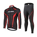 cheap Cycling Pants, Shorts, Tights-XINTOWN Men's Long Sleeve Cycling Jersey with Tights Black Bike Pants / Trousers Jersey Clothing Suit Thermal / Warm Windproof 3D Pad Reflective Strips Back Pocket Winter Sports Polyester Spandex