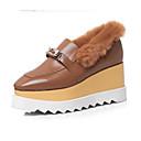 זול מוקסינים לנשים-בגדי ריקוד נשים נעלי נוחות עור נאפה Leather סתיו נעליים ללא שרוכים עקב טריז בוהן סגורה שחור / קאמל
