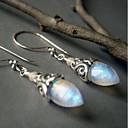 hesapli Küpeler-Kadın's Gümüş Gümüş Değerli Taş Boncuklar Vidali Küpeler - Kalp Avrupa Gümüş Uyumluluk Tatil Festival