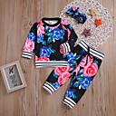 ieftine Set Îmbrăcăminte Bebeluși-Bebelus Fete Casual / Activ Concediu / Ieșire Floral Imprimeu Manșon Lung Regular Regular Bumbac Set Îmbrăcăminte Negru 100 / Copil