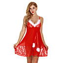cheap Robes & Sleepwear-Women's Sexy Suits Nightwear - Lace, Christmas Solid Colored