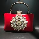 billige Clutch- og aftentasker-Dame Knapper / Krystaldetaljering Fløjl Aftentaske Rhinestone Crystal Evening Bags Helfarve Lilla / Rosa / Marineblå / Efterår vinter