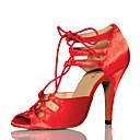 رخيصةأون أحذية لاتيني-نسائي أحذية رقص ستان كعب ربط كعب مثير أحذية الرقص أحمر