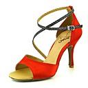 abordables Zapatos de Baile Latino-Mujer Zapatos de Baile Latino Satén Tacones Alto Slim High Heel Zapatos de baile Rosa / Almendra / Nudo / Rendimiento / Cuero / Entrenamiento