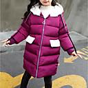 baratos Conjuntos para Meninas-Infantil Para Meninas Básico / Moda de Rua Diário / Para Noite Sólido Detalhes em Pêlo Manga Longa Padrão Poliéster Capa & Casaco Duvet Preto