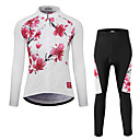 cheap Cycling Jersey & Shorts / Pants Sets-Women's Long Sleeve Cycling Jersey with Tights - White Bike Clothing Suit Quick Dry Winter Sports Polyester Floral / Botanical Mountain Bike MTB Road Bike Cycling Clothing Apparel / Stretchy