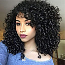 olcso Emberi hajból készült parókák-Remy haj Csipke / Csipke eleje Paróka Brazil haj Afro Kinky / Kinky Curly Paróka Aszimmetrikus frizura 130% / 150% / 180% Állítható / Egyszerű öntettel / Hot eladó Fekete Női Közepes hosszúságú