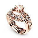 Χαμηλού Κόστους Μοδάτο Δαχτυλίδι-Γυναικεία Διάφανο Cubic Zirconia Δαχτυλίδι Σετ δαχτυλιδιών Χαλκός Με Επίστρωση Ροζ Χρυσού Προσομειωμένο διαμάντι Πέταλο κυρίες Γιορτή Κορεάτικα Μοντέρνα Bling Bling Μοδάτο Δαχτυλίδι Κοσμήματα / 2pcs