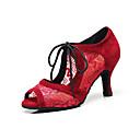 povoljno Cipele za latino plesove-Žene Plesne cipele Čipka Cipele za latino plesove Čipka Sandale Tanka visoka peta Moguće personalizirati Crn / Crveni Drak / Seksi blagdanski kostimi / Vježbanje