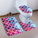 cheap Mats & Rugs-3 Pieces Traditional Bath Mats 100g / m2 Polyester Knit Stretch Creative Rectangle Bathroom Cute