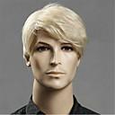 voordelige Synthetische kanten pruiken-Synthetische pruiken Heren Recht Blond Asymmetrisch kapsel Synthetisch haar 20 inch(es) Jeugd Blond Pruik Kort Zonder kap Lichtgoud