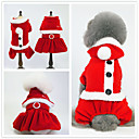 cheap Pet Christmas Costumes-Dogs / Cats Tuxedo Dog Clothes Solid Colored White / Red+Black Faux Fur / Canvas / Flannel Fabric Costume For Pets Unisex Minimalist / Christmas