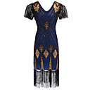 cheap Historical & Vintage Costumes-The Great Gatsby Vintage 1920s Roaring 20s Costume Women's Dress Flapper Dress Blue / Golden / Red+Golden Vintage Cosplay Party Prom Short Sleeve Butterfly Sleeve Knee Length / Sequins