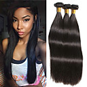 cheap Natural Color Hair Weaves-3 Bundles Brazilian Hair Straight Human Hair Extension / Bundle Hair / One Pack Solution 8-28 inch Natural Natural Color Human Hair Weaves Silky / Smooth / Best Quality Human Hair Extensions Women's