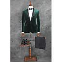 お買い得  スーツ-ソリッド テイラーフィット コットン / ポリエステル スーツ - ノッチドラペル シングルブレスト 一つボタン