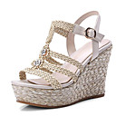 preiswerte Damen Sandalen-Damen Komfort Schuhe Leder Sommer Sandalen Creepers Weiß