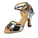 povoljno Cipele za latino plesove-Žene Plesne cipele Eko koža Cipele za latino plesove MiniSpot / Isprepleteni dijelovi Štikle Deblja visoka potpetica Zlato / Tamno siva / Bijela / srebrna / Seksi blagdanski kostimi / Vježbanje