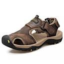 cheap Men's Sandals-Men's Comfort Shoes Cowhide Summer Sandals Light Brown / Dark Brown / Khaki