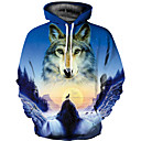 cheap Women's Heels-Men's Basic / Exaggerated Long Sleeve Hoodie - 3D Hooded Blue XL / Spring / Fall