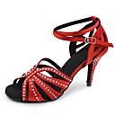 preiswerte Latein Schuhe-Damen Schuhe für den lateinamerikanischen Tanz Satin Sandalen / Absätze Strass / Schnalle / Spitze Keilabsatz Maßfertigung Tanzschuhe Rot