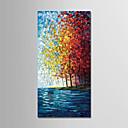 billige Abstrakte malerier-Hang malte oljemaleri Håndmalte - Abstrakt / Landskap Moderne Lerret