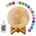 cheap Décor Lights-1pc Moon  Globe 3D Nightlight  Smart Night Light RGB+White USB Remote Controlled  Dimmable  Decoration 5 V