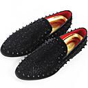 رخيصةأون أحذية سليب أون وأحذية مفتوحة للرجال-رجالي مقسين فرو ظبي الخريف كاجوال المتسكعون وزلة الإضافات أسود / حجر كريم / تو مربع