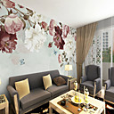 cheap Wall Murals-Wallpaper / Mural Canvas Wall Covering - Adhesive required Floral / Art Deco / 3D
