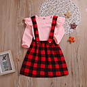 cheap Girls' Clothing Sets-Toddler Girls' Street chic / Punk & Gothic Daily / Holiday Solid Colored / Plaid Lace up Long Sleeve Regular Regular Cotton / Spandex Clothing Set Pink 2-3 Years(100cm)