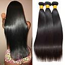 billige Remyfletninger av menneskehår-3 pakker Brasiliansk hår Peruviansk hår Rett 8A Ekte hår Ubehandlet Menneskehår Gaver Cosplay Klær Hodeplagg 8-28 tommers Naturlig Farge Hårvever med menneskehår Glat Beste kvalitet Mote