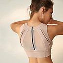 cheap Fitness, Running & Yoga Clothing-Women's Zipper Sports Bra Black Beige Sports Solid Color Mesh Top Zumba Yoga Fitness Sleeveless Activewear Breathable High Impact Push Up Freedom Micro-elastic Slim / Winter