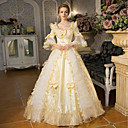 cheap Historical & Vintage Costumes-Princess Queen Elizabeth Victorian Rococo Baroque Square Neck Costume Women's Dress Outfits Party Costume Masquerade Golden Vintage Cosplay Polyster 3/4 Length Sleeve Puff / Balloon Sleeve Floor