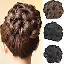 cheap Synthetic Capless Wigs-Wedding Bridal Updo Chignon Bun Flower Clip Synthetic Culry Hair Extensions More Colors